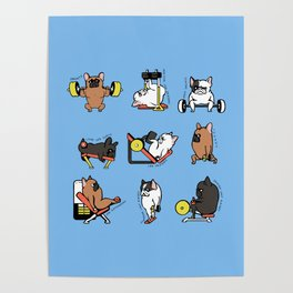 Leg Day with French Bulldog Poster