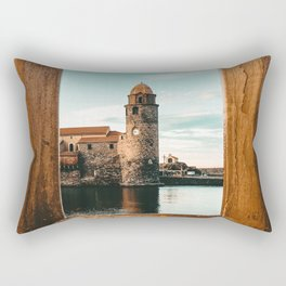 Picture Perfect | Teal and Orange Collioure France Medieval Church Tower Scenic View Marina Rectangular Pillow