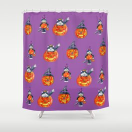 Black Cats and Jack-o-lanterns Shower Curtain
