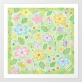 Floral and Butterfly Pattern - Spring Blossom Art Print