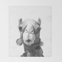 Black and White Camel Portrait Throw Blanket