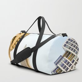 pyramid building and modern building and vintage style building at San Francisco, USA Duffle Bag