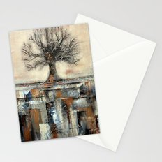Tree in Brown and Gold Texture Landscape Stationery Cards