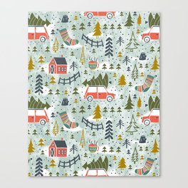 Home For The Holidays Blush Mint Christmas Canvas Print