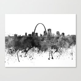 St Louis skyline in black watercolor Canvas Print
