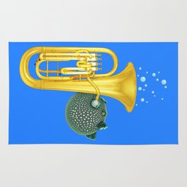 Puffer Fish Playing Tuba Rug