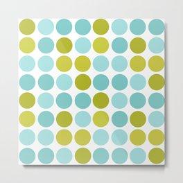 The pattern Green -  blue  polka dots. Metal Print