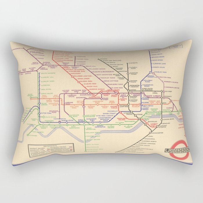 Vintage London Underground Map Rectangular Pillow