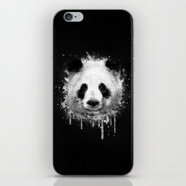 Cool Abstract Graffiti Watercolor Panda Portrait in Black & White  iPhone Skin