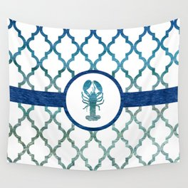 Lobster: Tropical Water Moroccan Pattern Wall Tapestry