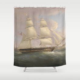 Vintage Fleet of Sailboats Painting (1845) Shower Curtain
