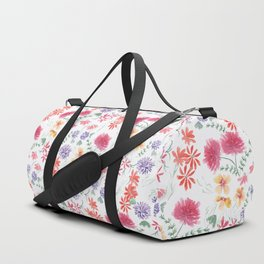 Bright flowers on a white background. Duffle Bag