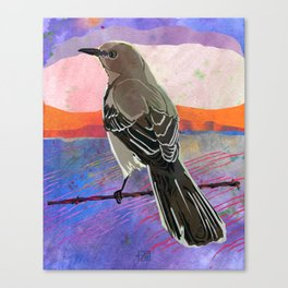 Mockingbird on a Wire Fence In The Sunset Watercolor Art Canvas Print