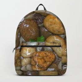 Top View of wet rock backgrounds in the tropical garden in 4:3 Ratio. Backpack