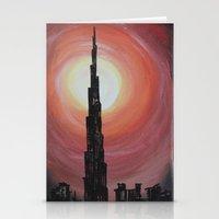 wiz khalifa Stationery Cards featuring Burj Khalifa by sladja