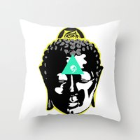 buddah Throw Pillows featuring Buddah by New Ill