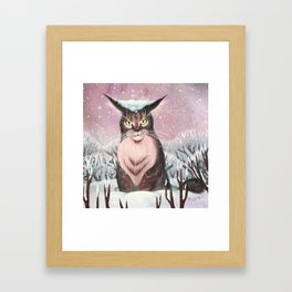 Maine Coon in the Snow Framed Art Print