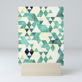 Abstract Green Triangles, Watercolor Pattern Mini Art Print