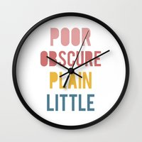 jane eyre Wall Clocks featuring Jane Eyre by LitPrints