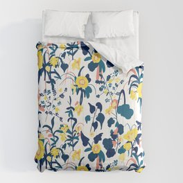 Buttercup yellow, salmon pink, and navy blue flowers on white background pattern Comforters