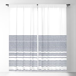 Organic Stripes in Navy Blue and White Blackout Curtain
