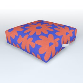 Crayon Flowers 3 Cheerful Smudgy Floral Pattern in Coral and Bright Blue Outdoor Floor Cushion