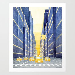 NYC, yellow cabs Art Print