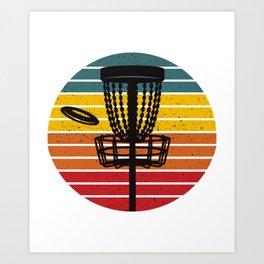 Disc Golf Basket Chains Retro Sunset Art Print