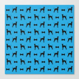Dog and Bone - Lurcher - mini light blue Canvas Print
