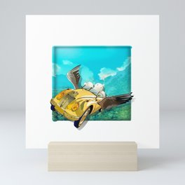 Yellow car and clouds Mini Art Print