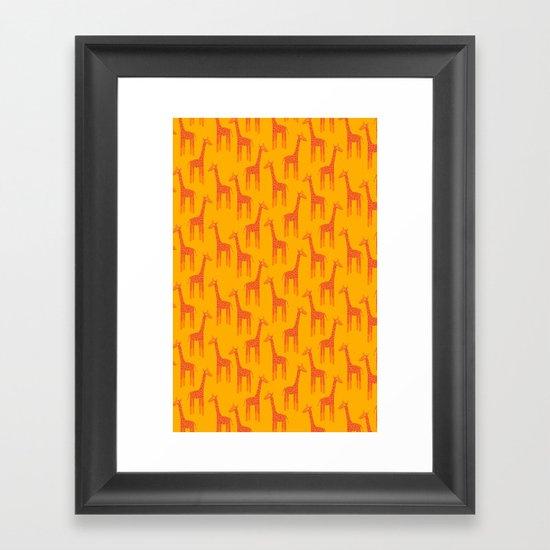 Giraffes-Orange Framed Art Print