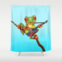 Tree Frog Playing Acoustic Guitar with Flag of Ecuador Shower Curtain