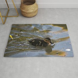 Baby Mallard Duckling Swimming Pond Rug