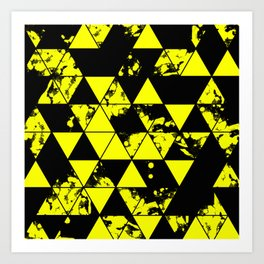 Splatter Triangles In Black And Yellow Art Print