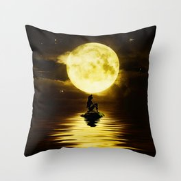 Beauty Mermaid Starry Night Throw Pillow