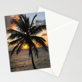 Ocean Palm Tree Sunset Stationery Cards