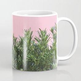 Minimal Nature Green Botanical Plants with Light Pink Background Coffee Mug