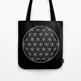 Flower of life on black Tote Bag