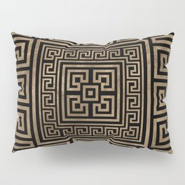 Greek Key Ornament - Greek Meander -Gold on Black Pillow Sham