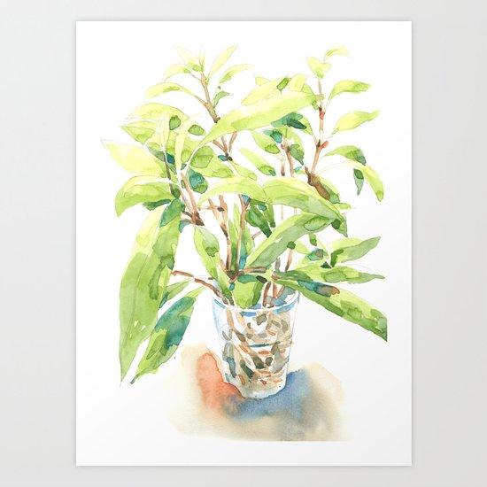 A glass of plant Art Print