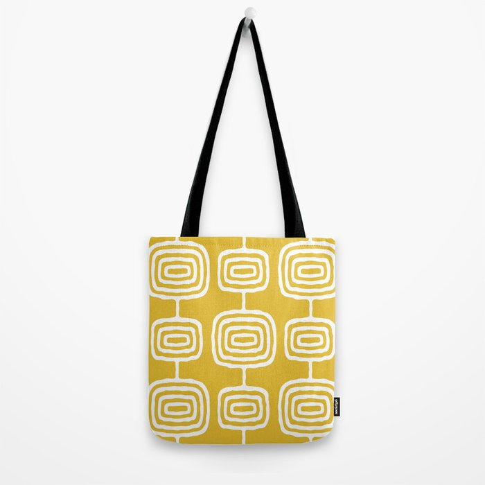 Mid Century Modern Atomic Rings Pattern 771 Mustard Yellow Tote Bag
