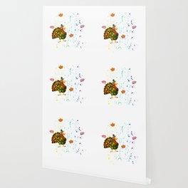 Gobble Til You Wobble Thanksgiving Rainbow Splatter Wallpaper