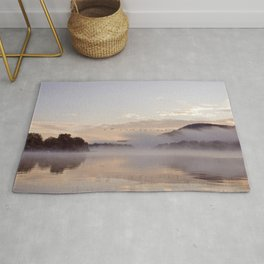 Into the Mists of Dawn: Sunrise on Lake George Rug