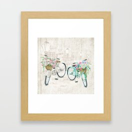 Vintage Bicycles With a City Background Framed Art Print