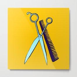 Scissors & Comb (Yellow) Metal Print