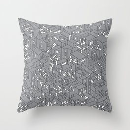 City Grid Night Print Throw Pillow
