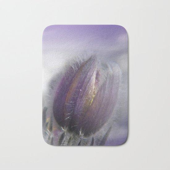 Pasque-flower on texture -2- Bath Mat