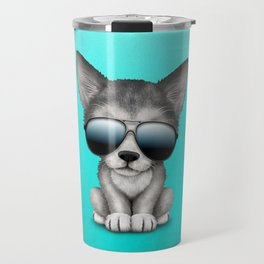 Cute Baby Wolf Cub Wearing Sunglasses Travel Mug