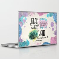 write Laptop & iPad Skins featuring Write to Embrace design by Evie Seo