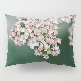 Blush Pink Flowers on Emerald Green Pillow Sham
